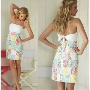 LILLY PULITZER Franco Multi patch strapless dress